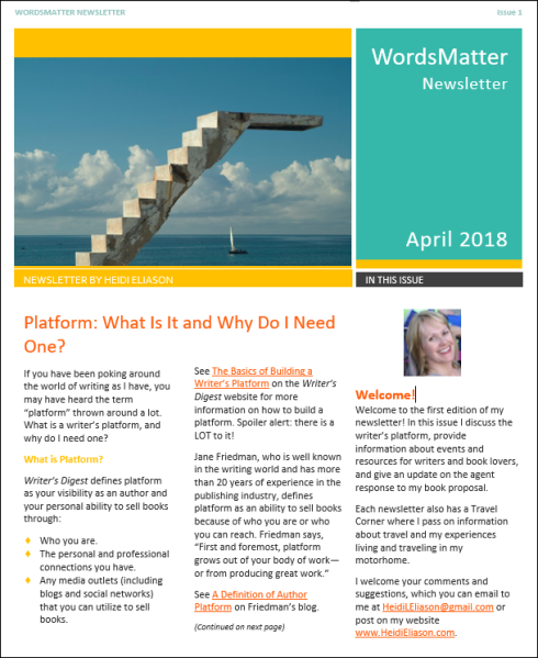 Newsletter April 2018 page 1 snip