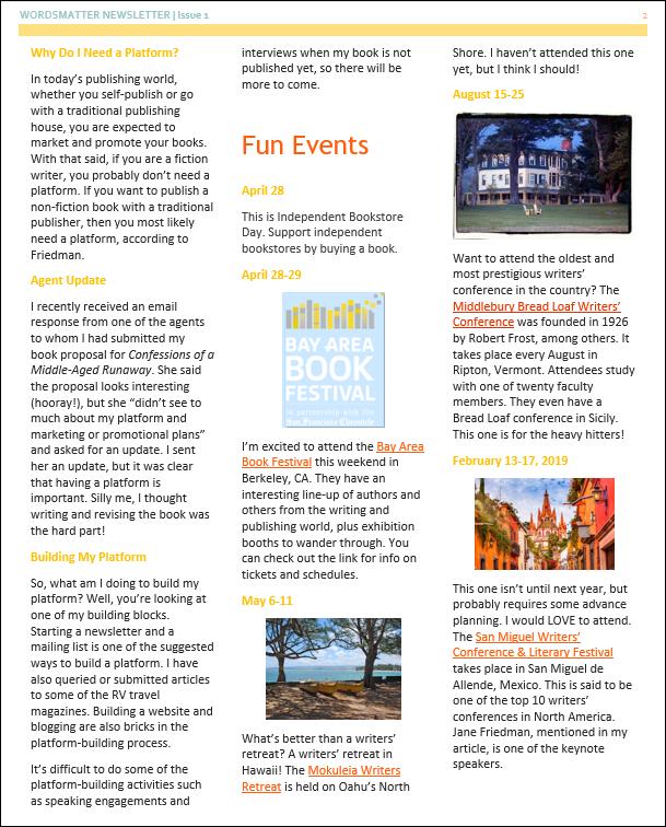 Newsletter April 2018 page 2 snip